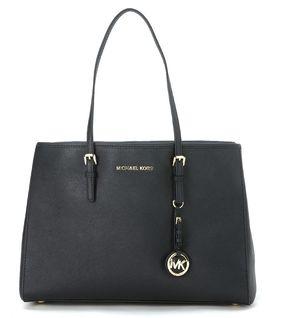 Michael Kors Jet Set Travel Medium Shoulder Bag In Black Saffiano Leather - NERO - STYLE