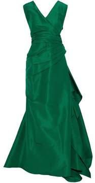 Carolina Herrera Wrap-Effect Pleated Silk-Taffeta Gown