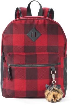 Candie's® Nova Buffalo Plaid Backpack with Leopard Print Pom Pom
