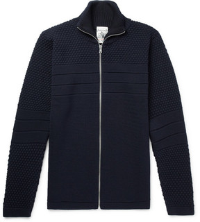 S.N.S. Herning Torso Panelled Textured-Knit Wool Zip-Up Sweater