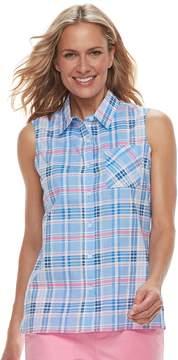 Caribbean Joe Women's Plaid Sleeveless Shirt