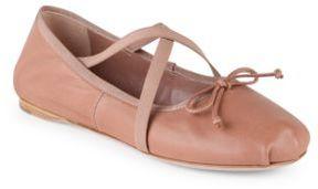 Miu Miu Crisscross Leather Ballet Flats
