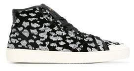 Saint Laurent Men's White/black Velvet Hi Top Sneakers.