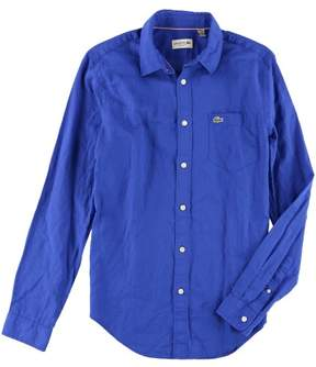 Lacoste Mens Flastaff Button Up Shirt Blue S
