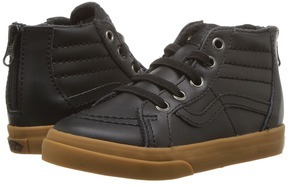 Vans Kids Sk8-Hi Zip Black/Leather/Gum) Boy's Shoes