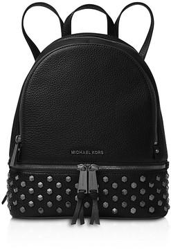 MICHAEL Michael Kors Rhea Faceted Stud Medium Leather Backpack - BLACK/GUNMETAL - STYLE