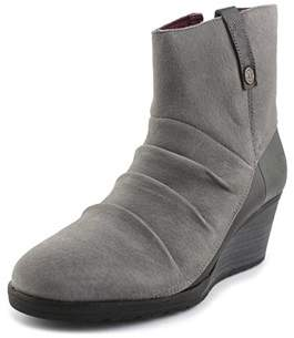 The North Face Bridgeton Wedge Zip Women Round Toe Suede Gray Ankle Boot.