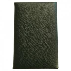 Hermes Calvi leather card wallet - KHAKI - STYLE