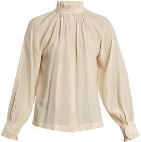 Masscob Frill-trimmed stitch-detail silk shirt