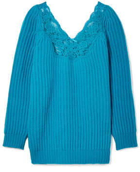 Balenciaga Oversized Lace-trimmed Ribbed Wool Sweater - Turquoise