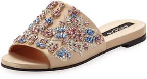Rochas Embellished Satin Slide Sandal