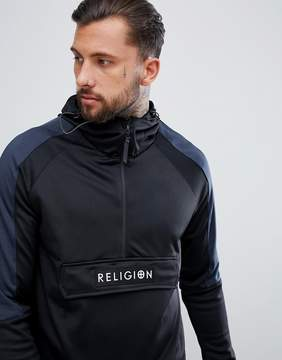 Religion Hoodie With Side Zips And Contrast Hood In Tricot