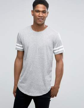 ONLY & SONS Longline T-shirt with Arm Stripes and Curved Hem