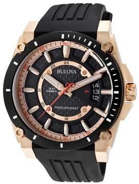 Bulova Precisionist Mens Black Silicone Strap Watch 98B152