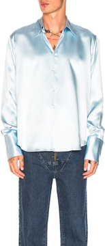 Martine Rose Double Cuff Satin Shirt in Blue.