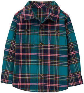 Gymboree Teal & Coral Plaid Button-Up - Infant & Toddler