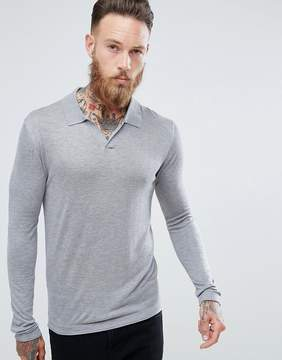 MANGO Man Fine Knit Polo With Revere Collar In Gray