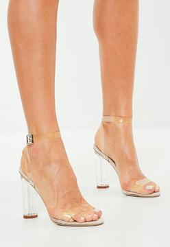 Missguided Beige Clear Barely There Heeled Sandals