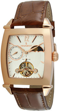 Peugeot Mens Brown Leather Strap Sun/Moon Automatic Watch