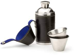 Aspinal of London Hunter 6Oz Leather Hip Flask In Smooth Black Cobalt Suede