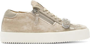 Giuseppe Zanotti Taupe Velvet May London Sneakers