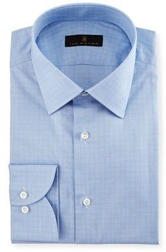 Ike Behar Gold Label Micro-Glen Plaid Dress Shirt, Blue