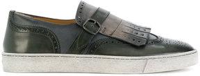 Santoni slip on fringed loafers