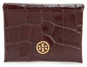 Tory Burch Women's Parker Croc Embossed Leather Card Case - Burgundy - BLUE - STYLE