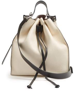 J.W.Anderson Drawstring Pebbled Leather Bucket Bag - Womens - White
