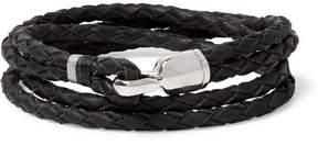 Miansai Trice Woven Leather Sterling Silver Wrap Bracelet