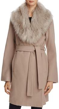 T Tahari Flora Faux Fur-Trim Wrap Coat