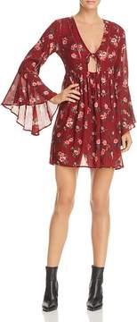 En Creme Floral Print Bell-Sleeve Mini Dress