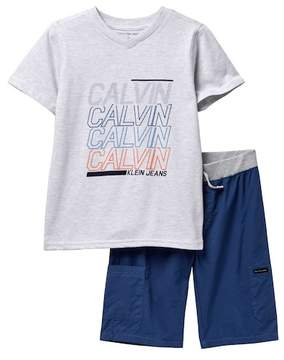 Calvin Klein Tee & Shorts Set (Big Boys)