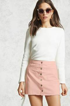 Forever 21 Frayed Button-Down Mini Skirt