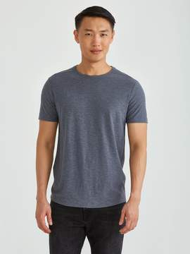 Frank and Oak Loose Fit Reverse Slub Crewneck Tee in Mixed Navy
