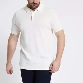 River Island Mens Big and Tall ecru short sleeve polo shirt