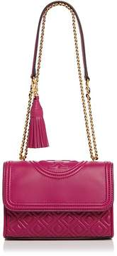 Tory Burch Fleming Convertible Small Leather Shoulder Bag - BEDROCK/GOLD - STYLE