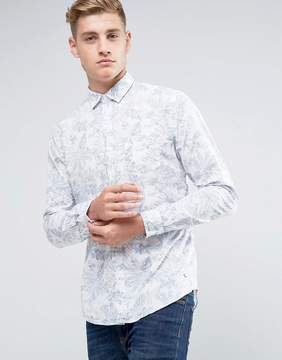 Esprit Shirt In Slim Fit With All Over Leaf Print