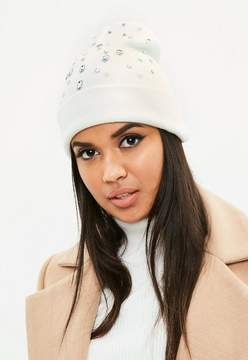 Missguided White Gem and Pearl Embellished Beanie Hat