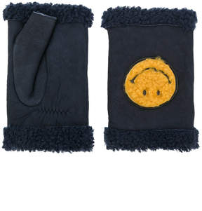 Agnelle shearling smiley gloves