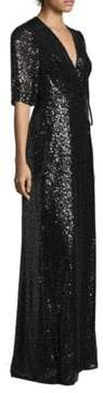 Aidan Mattox Sequin Wrap Gown