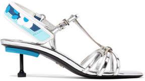 Prada Metallic Leather Slingback Sandals - Silver