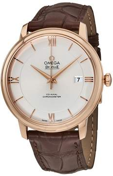 Omega Deville Co-Axial Automatic Silver Dial Rose Gold Brown Leather Men's Watch