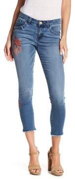 Democracy Floral Fringe Hem Skinny Jeans