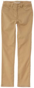 Nautica Girls' Khaki Stretch Sateen Pant