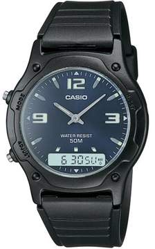 Casio Men's Blue Dial Ana-Digi Watch, Black Resin Strap