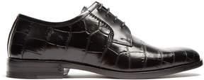 Saint Laurent Montaigne crocodile-effect leather flats