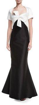 Carolina Herrera Two-Tone Tie-Front Mermaid Gown, Black/White