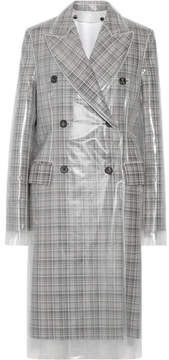 Calvin Klein Double-breasted Layered Pvc And Plaid Wool Coat - Gray