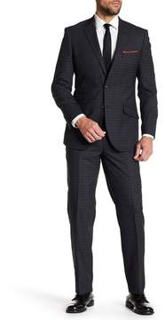 English Laundry Charcoal Tartan Two Button Notch Lapel Wool Suit
